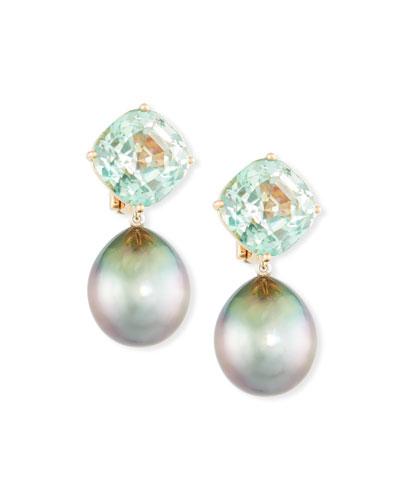 18k Rose Gold Tourmaline & Tahitian Pearl Clip-On Drop Earrings