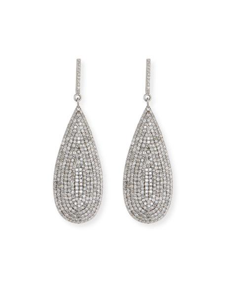 Sheryl Lowe Large Flat Silver Diamond Teardrop Earrings
