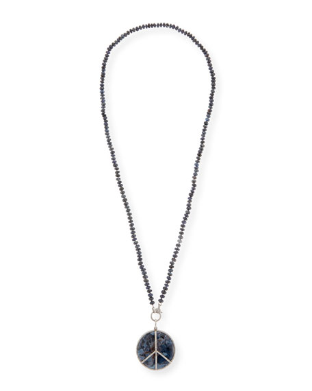 Sheryl Lowe Knotted Gray Opal, Pietersite & Diamond Peace-Sign Necklace