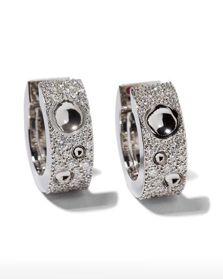 Roberto Coin Pois Moi Luna 18k White Gold Diamond Hoop Earrings