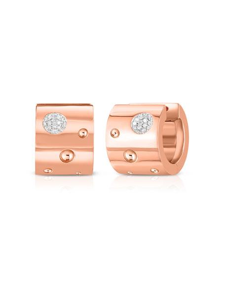 Roberto Coin Pois Moi Luna 18k Rose Gold Huggie Hoop Earrings