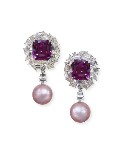 18k White Gold Pink Pearl, Purple Spinel & Diamond Earrings