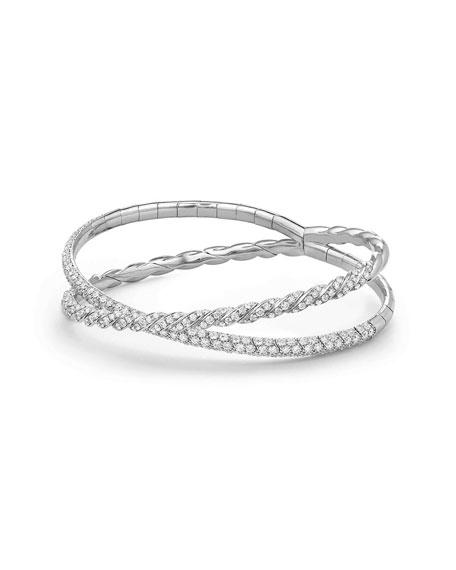 David Yurman 18k White Gold Paveflex Two-Row Diamond Bracelet, Size M