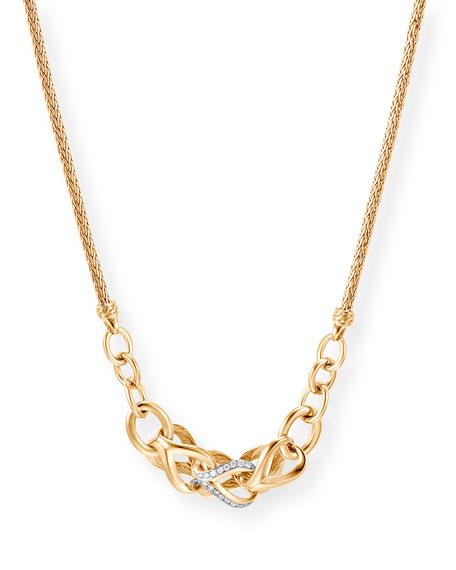John Hardy CLASSIC CHAIN 18K GOLD DIAMOND LINK NECKLACE