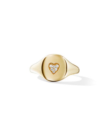 David Yurman 18k Gold Diamond Heart Pinky Ring, Size 3.5