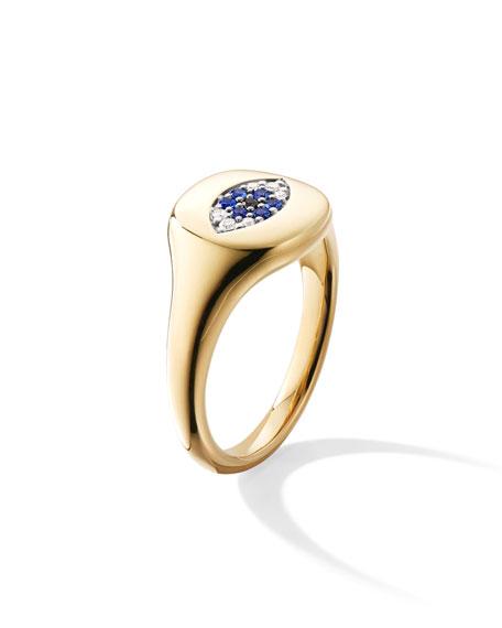 David Yurman 18k Gold Diamond Evil Eye Pinky Ring, Size 3