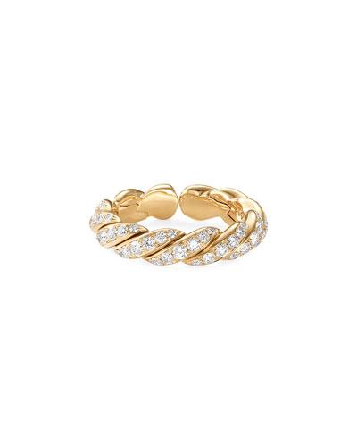 Pave Flex 18k Gold & Diamond Ring, Size 4.5-5.5