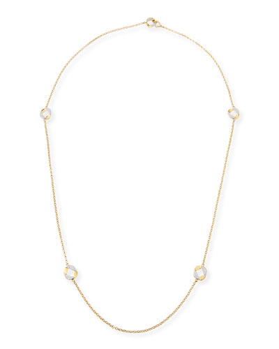 18k Gold Curb Link Necklace with Diamonds