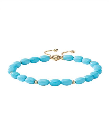 David Yurman 18k Gold Bijoux Turquoise Adjustable Bracelet