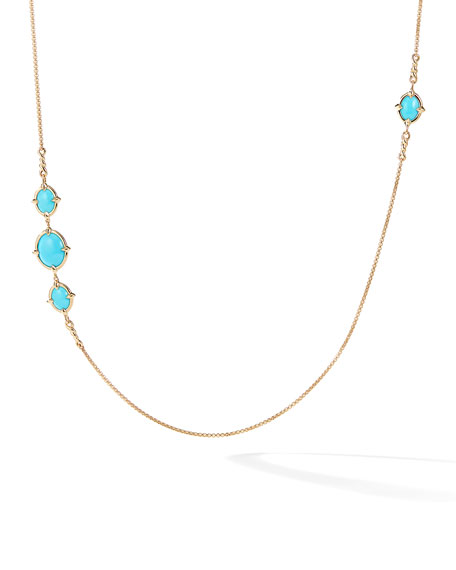 David Yurman 18k Gold Chatelaine Turquoise Station Necklace