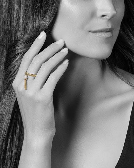 LAGOS 18k Caviar Gold Tassel Ring w/ Diamonds, Size 7