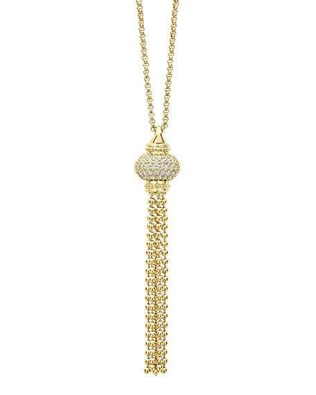 Lagos 18K CAVIAR GOLD TASSEL NECKLACE W/ DIAMONDS
