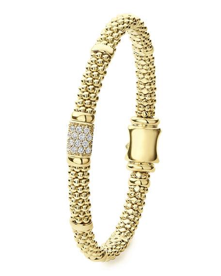LAGOS 18k Caviar Gold Diamond Rope 6mm Bracelet, Size M