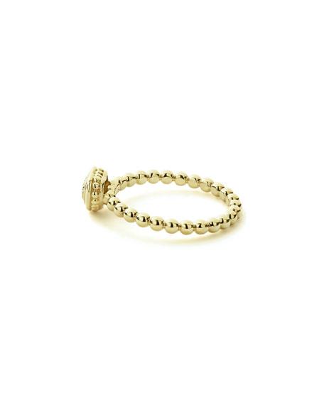 LAGOS 18k Caviar Gold Diamond Heart Stack Ring, Size 7