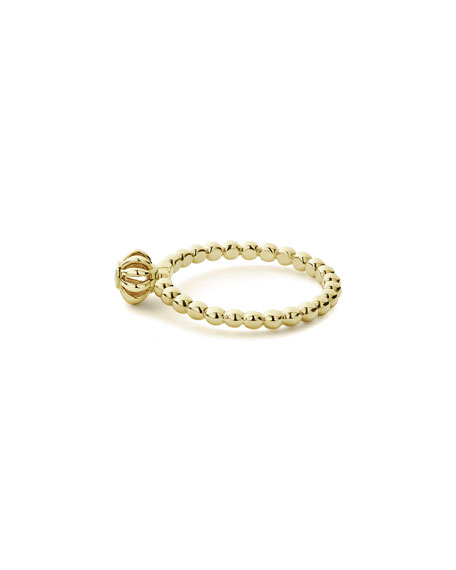 LAGOS 18k Caviar Gold Diamond Birdcage Ring, Size 7