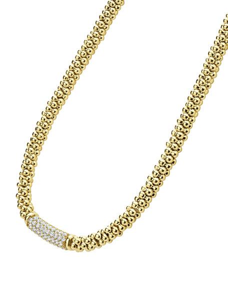 LAGOS 18k Caviar Gold Rope Necklace w/ 19mm Diamond Plate