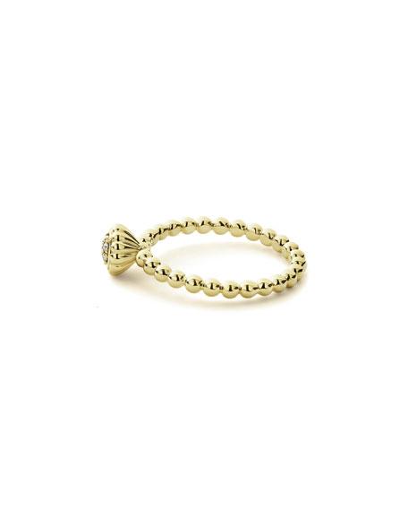 LAGOS 18k Caviar Gold Seven-Diamond Ring, Size 7