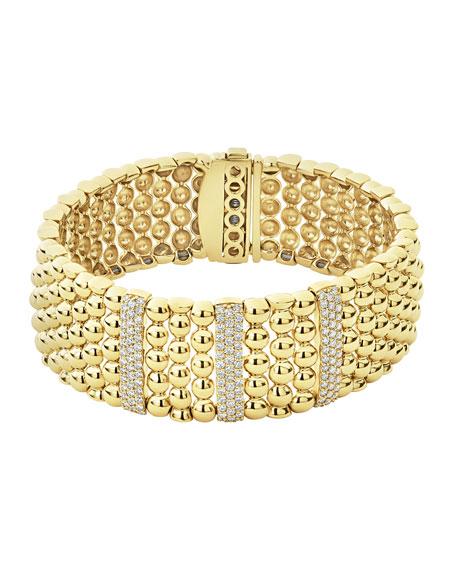 LAGOS 18k Caviar Gold Wide Rope Bracelet w/ Three Diamond Plates
