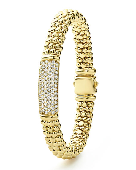 LAGOS 18k Caviar Gold Rope Bracelet w/ 25mm Diamond Plate