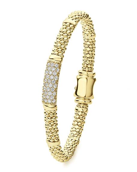 LAGOS 18k Caviar Gold 19mm Rope Bracelet w/ Diamonds, Size M