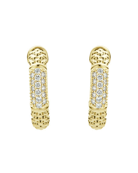 LAGOS 18k Caviar Gold Hoop Earrings w/ Diamonds