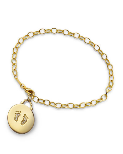 18k Yellow Gold Small Baby Feet Charm Bracelet w/ Diamonds