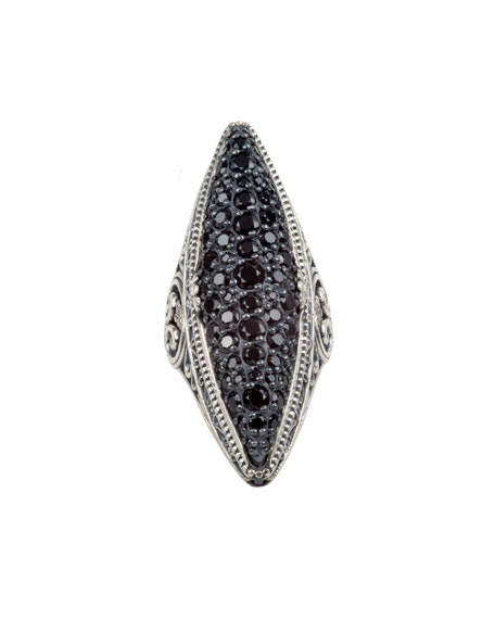 Konstantino Black Spinel Pave Marquise Ring, Size 7