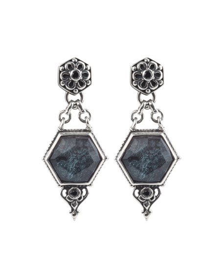 Konstantino Specular Hematite Doublet Dangle Earrings