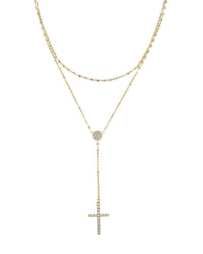 14k Gold Flawless Two-Strand Crossary w/ Diamonds