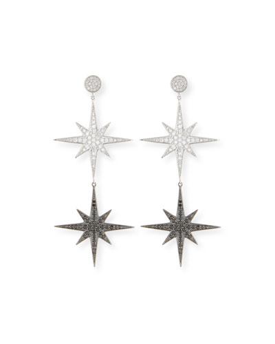 14k Two-Tone Diamond Starburst Drop Earrings