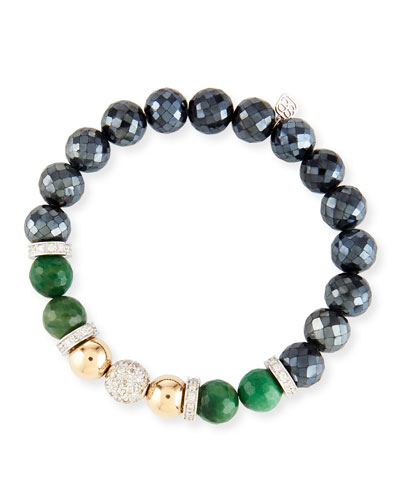 Black Spinel & Verdite Combo Bracelet w/ Diamonds