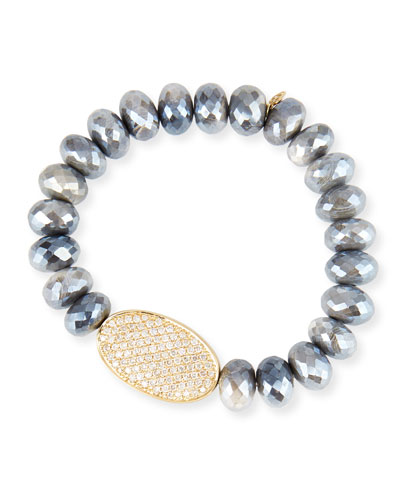 Australian Moonstone & Diamond Disc Bracelet