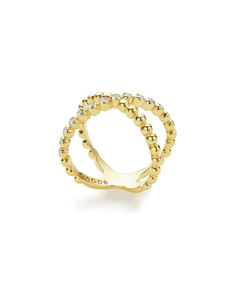 LAGOS 18k Caviar Gold Diamond X Ring, Size 7