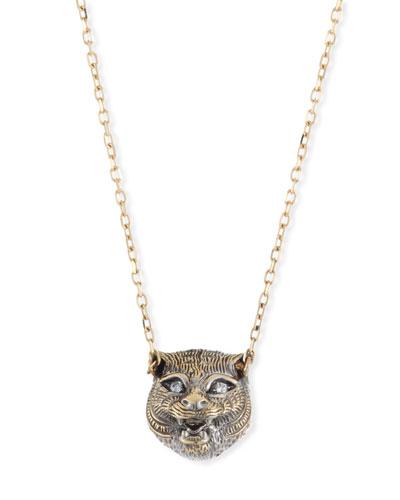 18k Gold Le Marche des Merveilles Onyx Feline Necklace