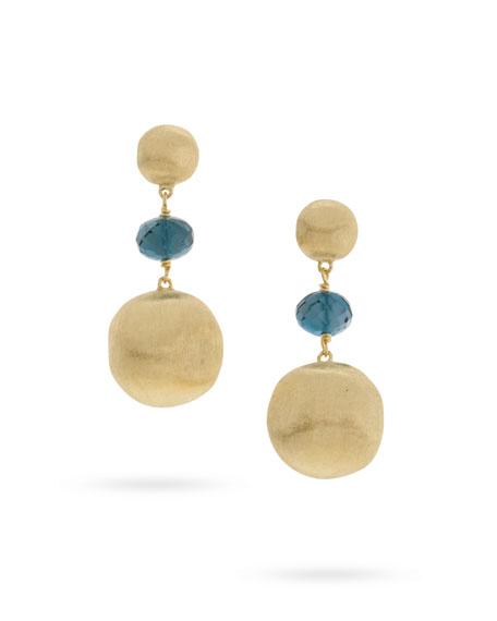 Marco Bicego Africa 18k London Blue Topaz Drop Earrings