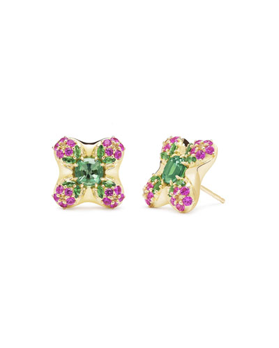 18k Gold Quad Blossom Stud Earrings
