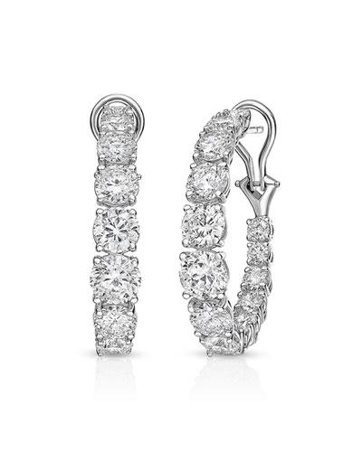 18k White Gold Graduated Diamond Hoop Earrings