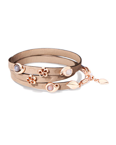 Loopy Mixed Cabochon Leather Wrap Bracelet with Rose Gold