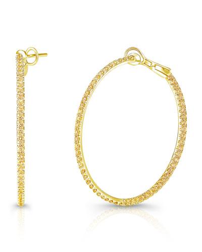18k Fancy Yellow Diamond In/Out Hoop Earrings
