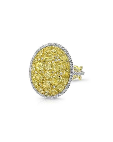 Rahaminov Diamonds Platinum & 18k Fancy Yellow Diamond & White Diamond Mosaic Ring, Size 6.25