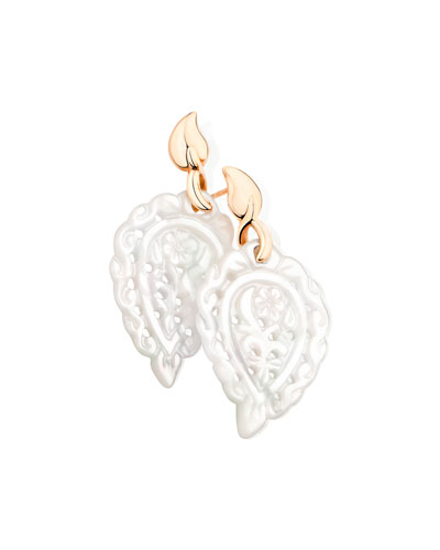 India 18k Rose Gold Mother-of-Pearl Leaf Earrings