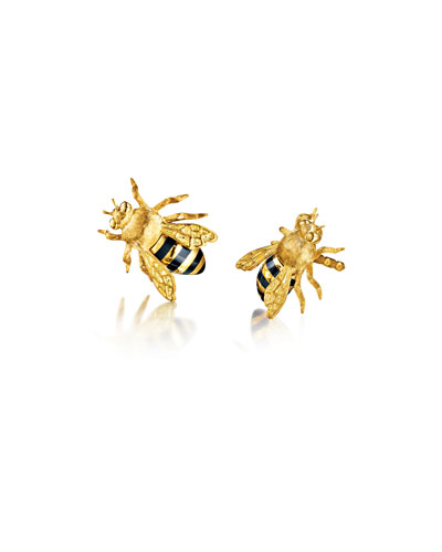 18k Gold Bee Clip-On Earrings