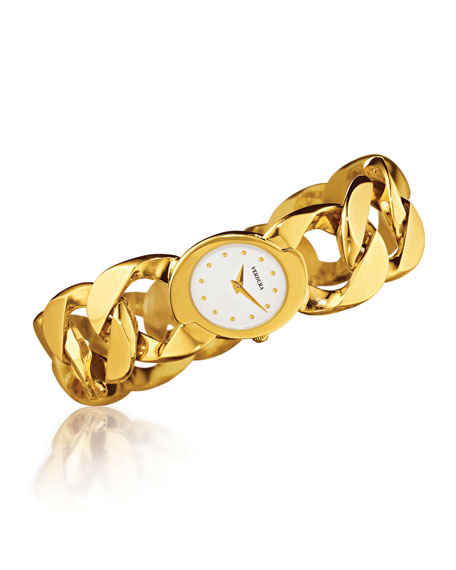 Verdura 18K Yellow Gold Curb-Link Bracelet Watch