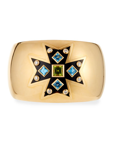 Peridot  Topaz & Diamond Maltese Cross Cuff Bracelet
