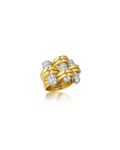 18k Gold Diamond Trio Ring  Size 6