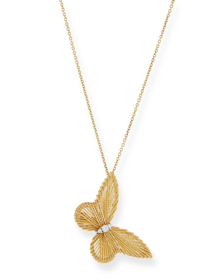 Image 1 of 3: Staurino Renaissance 18k Gold Butterfly Pendant Necklace