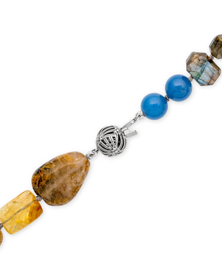 Stephen Dweck Multi-Stone & Pearl Long Necklace