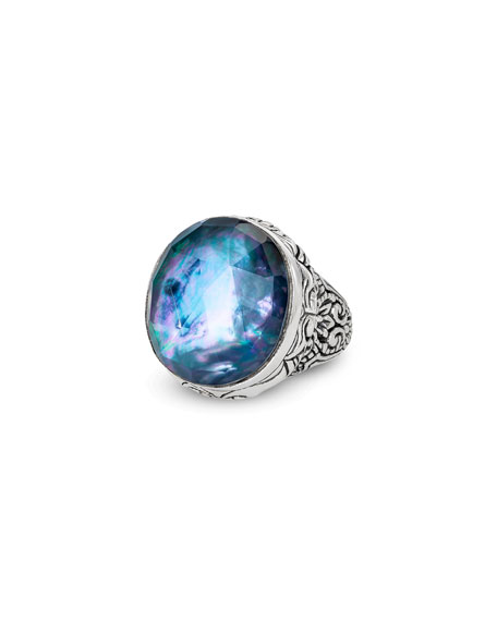 Stephen Dweck Markie Engraved Blue Quartz/Mother-of-Pearl/Black Agate Ring, Size 7