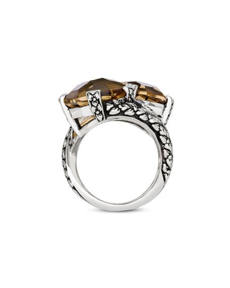 Stephen Dweck Champagne Quartz Bypass Ring, Size 7