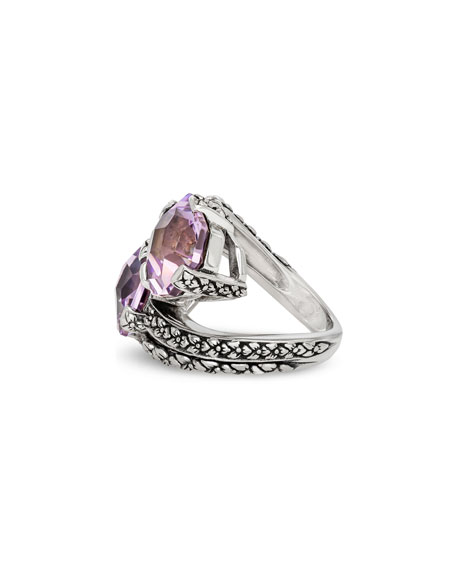 Stephen Dweck Pink Amethyst Bypass Ring, Size 7